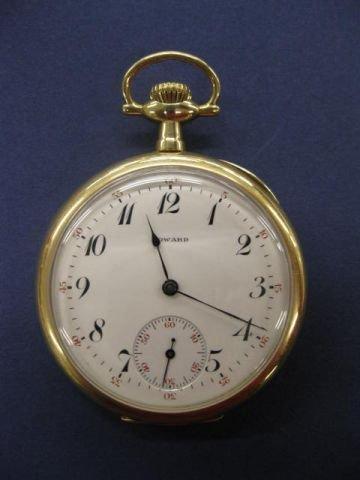 702: 14k Gold Howard Pocketwatch, 17 jewel, openface, s