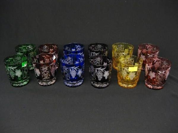 903: Set of 12 Colored Cut-to-Clear Crystal Tumblers,