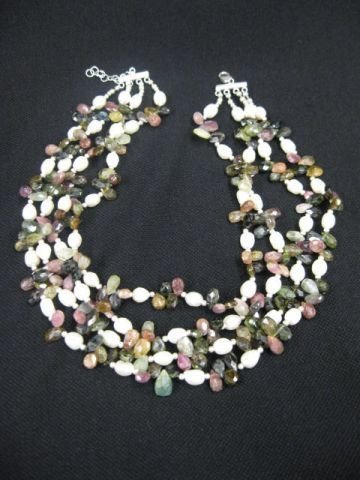 911A: Tourmaline & Pearl Necklace,
