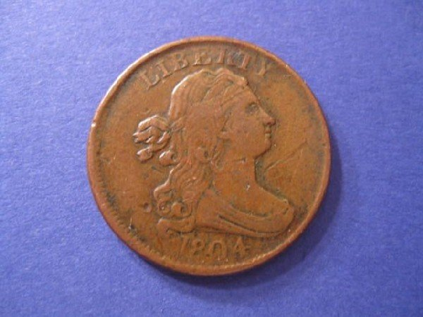 1: 1804 U.S. Half Cent, draped bust, extra fine.