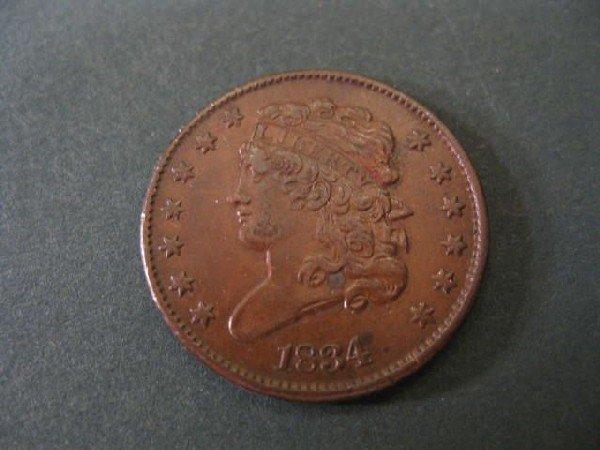 3: 1834 U.S. Half Cent, classic head, A.U.