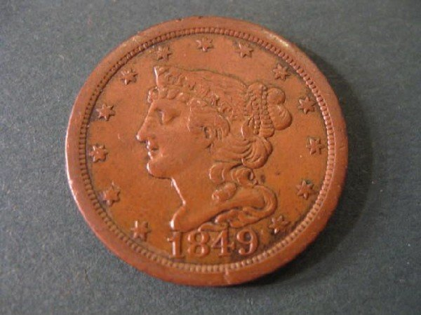 5: 1849 U.S. Half Cent, classic head, extra fine.