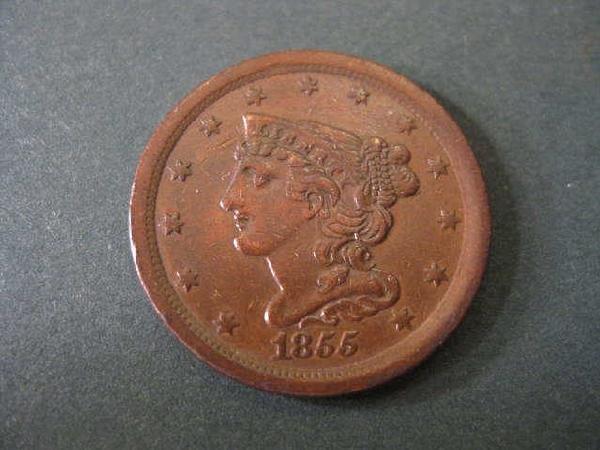 6: 1855 U.S. Half Cent, braided hair, extra fine.