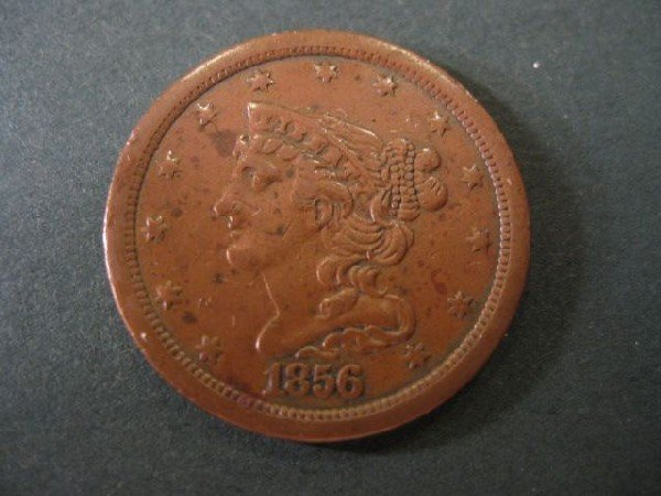 7: 1856 U.S. Half Cent, braided hair, extra fine.