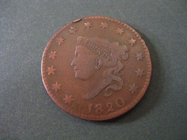 10: 1820 U.S. Large Cent, matron head, fine.