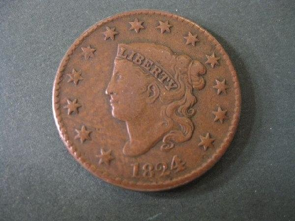 11: 1824/2 U.S. Large Cent, scarcer 4 over 2 variety,