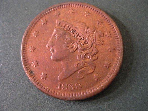14: 1838 U.S. Large Cent, matron head, choice A.U.