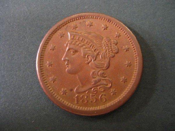 15: 1856 U.S. Large Cent, matron head, choice A.U.,