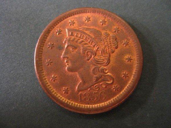 16: 1856 U.S. Large Cent, matron head, uncirculated.