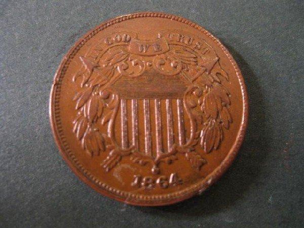 19: 1864 U.S. Two Cent Piece, extra fine.