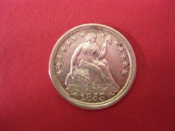 24: 1853 U.S. Half Dime, seated liberty, extra fine, va