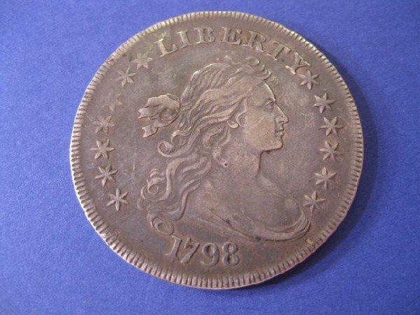 96: 1798 U.S. Draped Bust Dollar, extra fine.