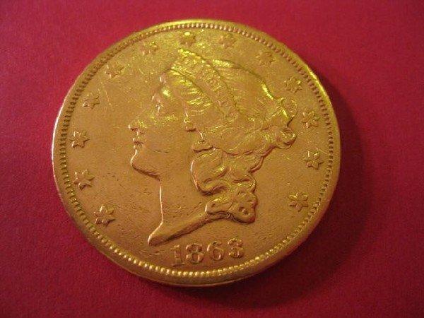 225: 1863-S U.S. $20.00 Liberty Head Gold Coin, A.U.,
