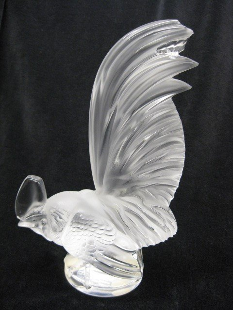 506: Lalique French Crystal Figurine of a Rooster,