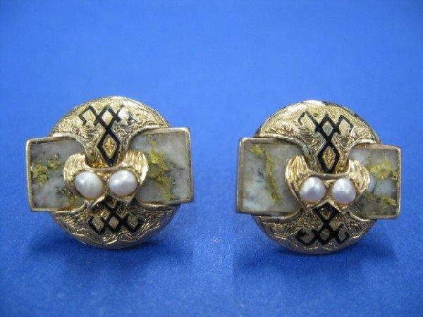 510A: Victorian Gold Quartz & 14k Earrings
