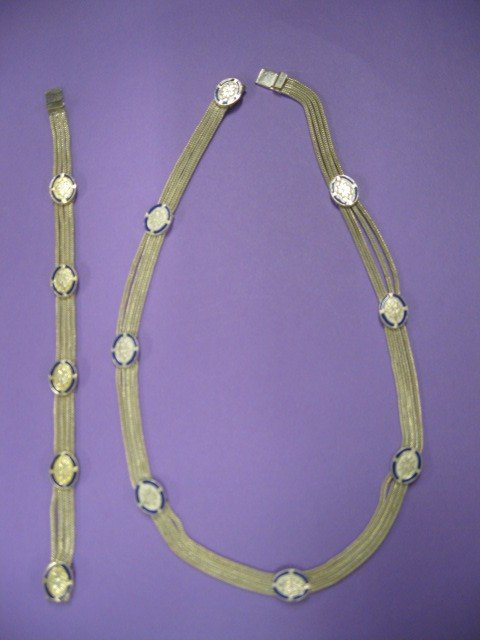 511A: Sterling Silver & Enameled Necklace & Bracelet,