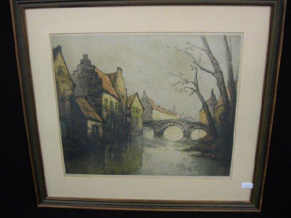 513: Drypoint Etching, European Cityscape with Bridge,