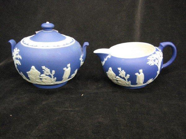 518: Wedgwood Dark Blue Jasperware Creamer &
