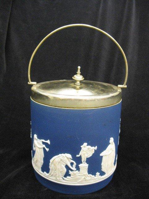 519: Adams Dark Blue Jasperware Biscuit Jar,