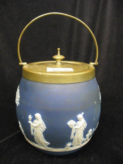 520: Wedgwood Dark Blue Jasperware Biscuit Jar,