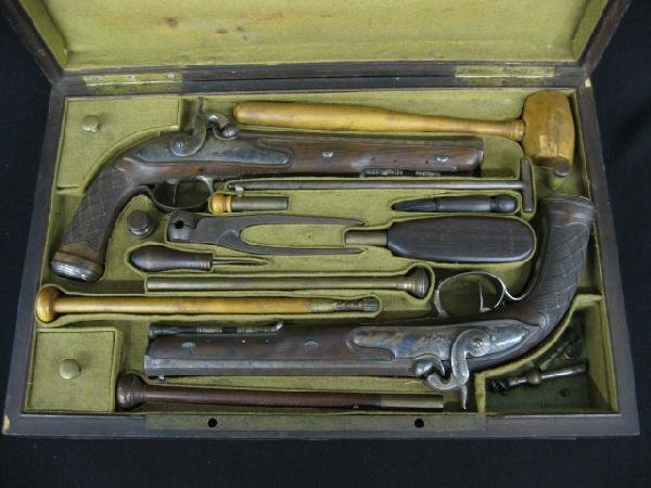 581: 18th Century Pair of French Dueling Pistols, boxed