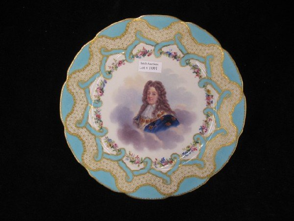 1001: Sevres Porcelain Royalty Cabinet Plate,