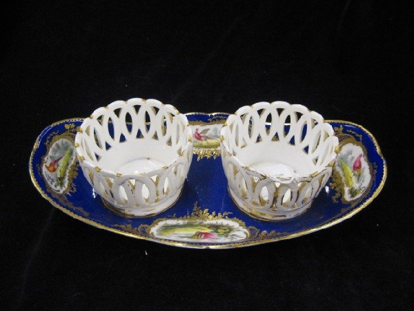 1002: Sevres Porcelain Dish with Double Baskets,