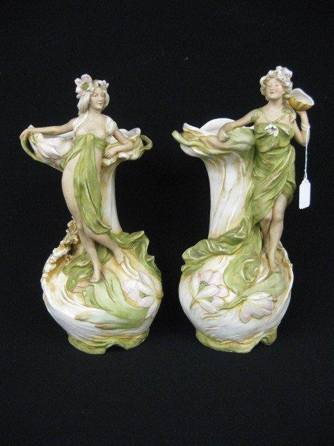 1004: Pair of Royal Dux Porcelain Figural Vases,