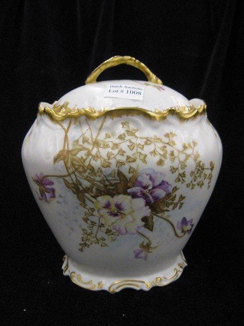 1008: Limoges Handpainted Porcelain Biscuit Jar,