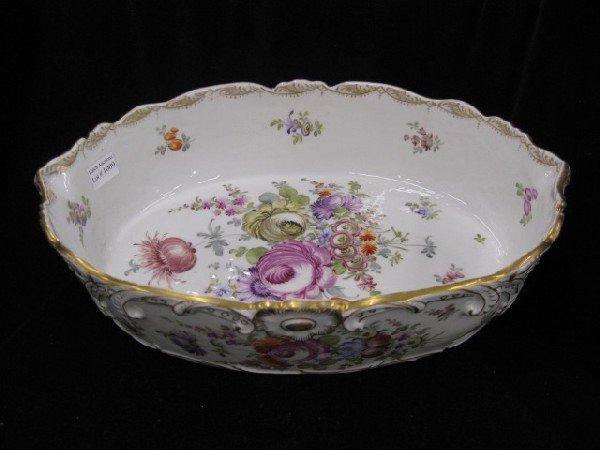 1009: Dresden Porcelain Hanpainted Serving Dish,