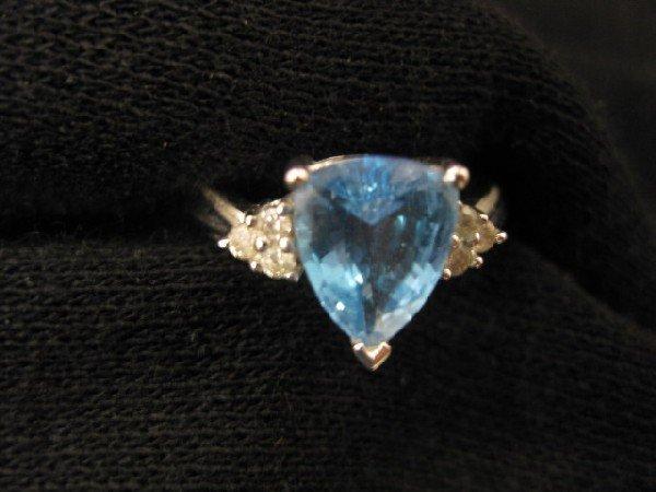 1010A: Blue Topaz & Diamond Ring,