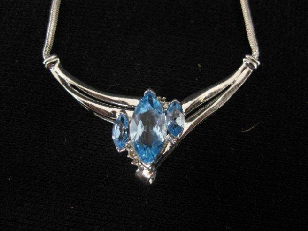 1010B: Blue Topaz & Diamond Necklace,