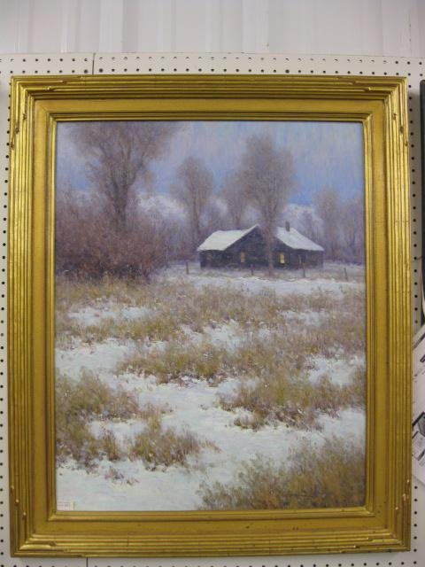 1013: Oil on Board of Cabin in the Winter,