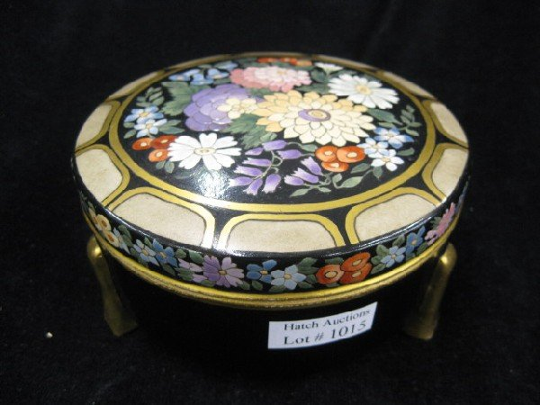 1015: Handpainted Arts & Crafts Era Powder Jar,