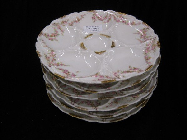 1019: Set of 6 Haviland Limoges Porcelain Oyster Plates