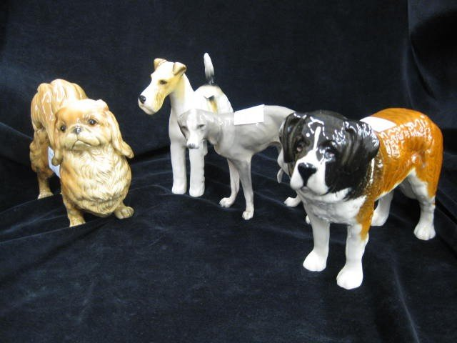 """2: 4 Dog Figurines, Beswick & others, tallest 5"""", excel"""