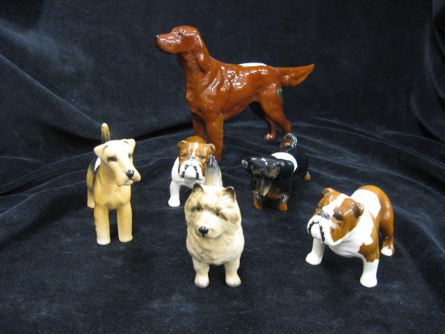 3: 6 Beswick Porcelain Dog Figurines, various breeds, t