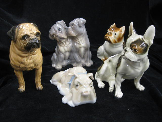 """4: 5 Dog Figurines, various breeds, largest is 6"""", all"""