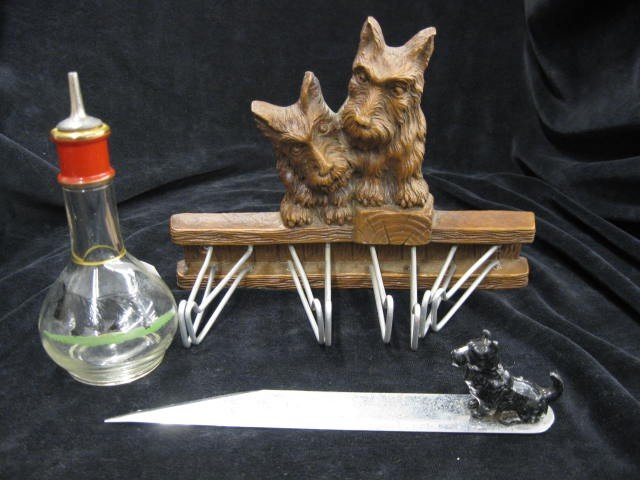 9: 3 Scotty Dog Decorated Items; sewing ruler, hanger &