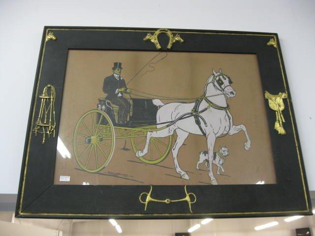 12: F.M. Lamb Print of Hackney Horse & Gig, dog along