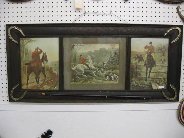 13: Fox Hunt Lithographs, trio in oak frame decorated w