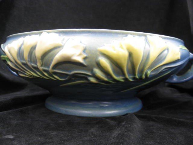 """25: Roseville """"Freesia"""" Art Pottery Planter, blue, 1945"""