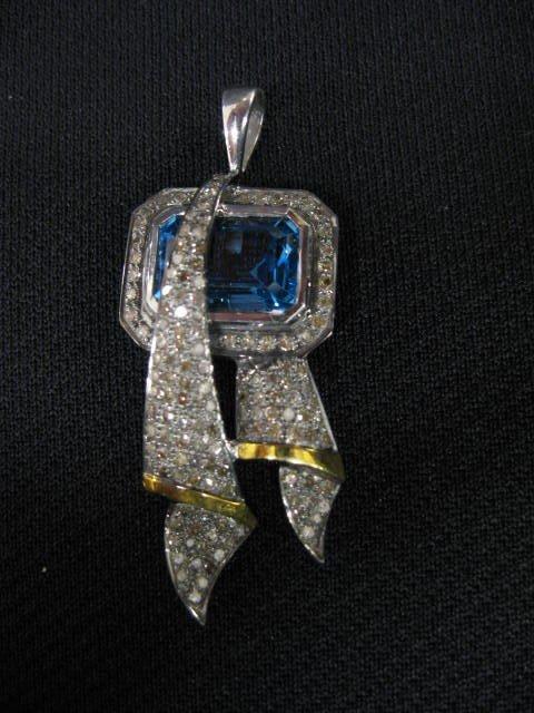 150B: Blue Topaz & Diamond Pendant, 12 carat gem surrou