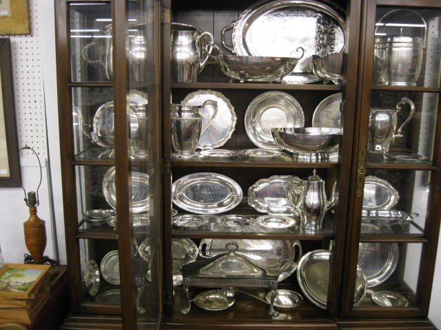 229: 43 Trophy Items; silverplate & pewter, trays, bowl