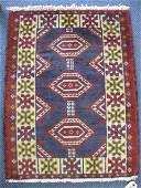 435: Hamadan Persian Handmade Mat, geometric designs, r
