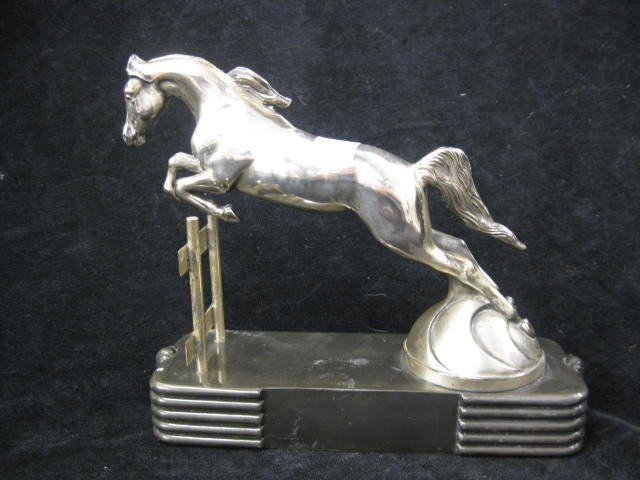 436: Art Deco Silverplate Figurine of a Horse jumping,