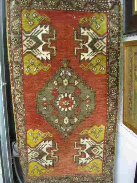 1155: Hamadan Persian Handmade Mat, geometric designs o