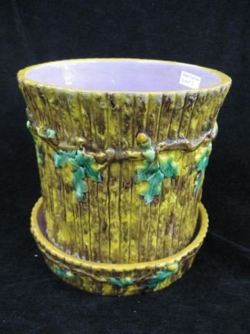 2: Majolica Pottery Planter & Underplate,