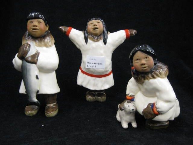 8: 3 Pottery Figurines of Eskimo Children