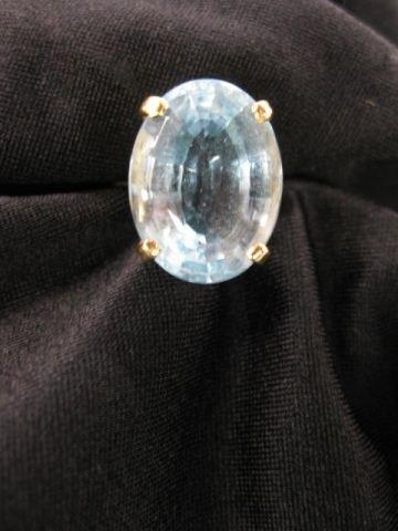 10: Blue Topaz Ring, rich 16 carat oval gem,
